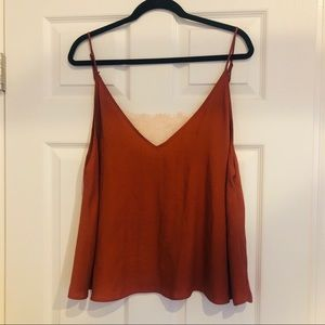 FREE PEOPLE - satin and lace cami, rust, Medium